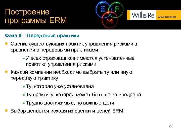 Построение программы ERM Фаза II – Передовые практики Оценка существующих практик управления рисками в
