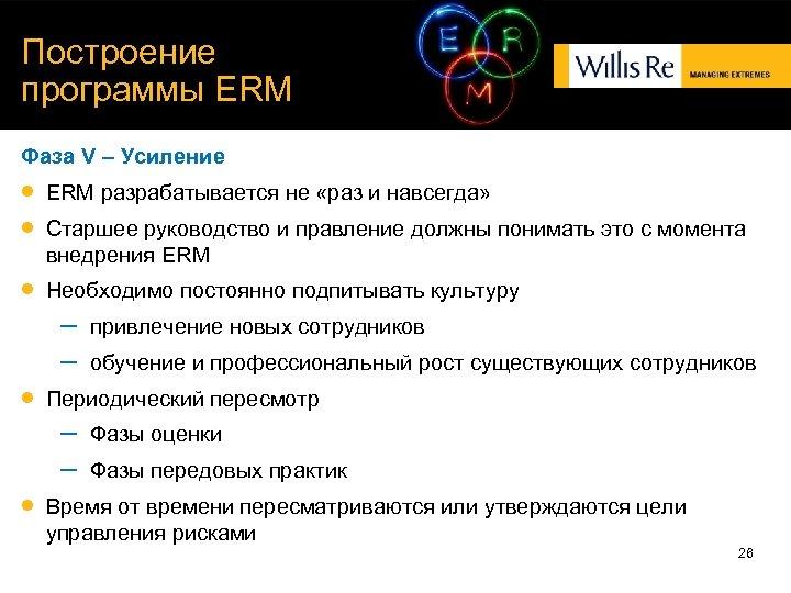 Построение программы ERM Фаза V – Усиление ERM разрабатывается не «раз и навсегда» Необходимо