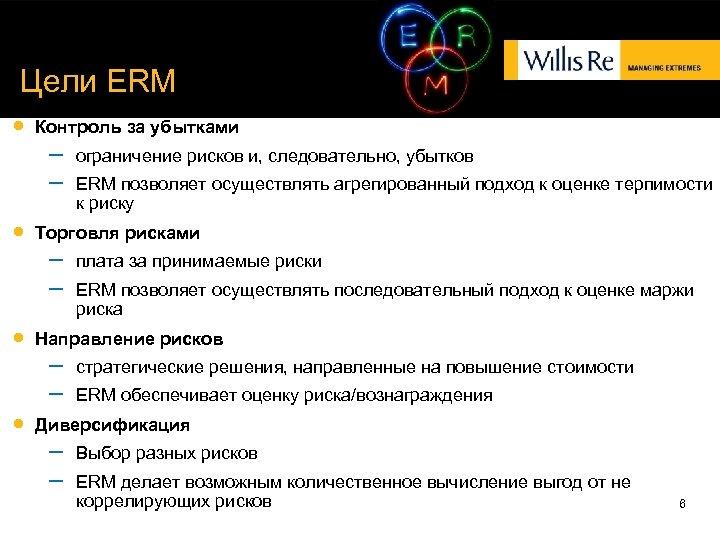 Цели ERM Контроль за убытками – – ERM позволяет осуществлять агрегированный подход к оценке