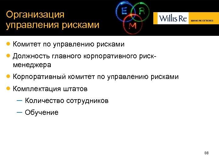 Организация управления рисками Комитет по управлению рисками Должность главного корпоративного рискменеджера Корпоративный комитет по