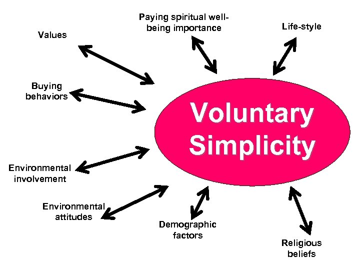 Values Buying behaviors Paying spiritual wellbeing importance Life-style Voluntary Simplicity Environmental involvement Environmental attitudes