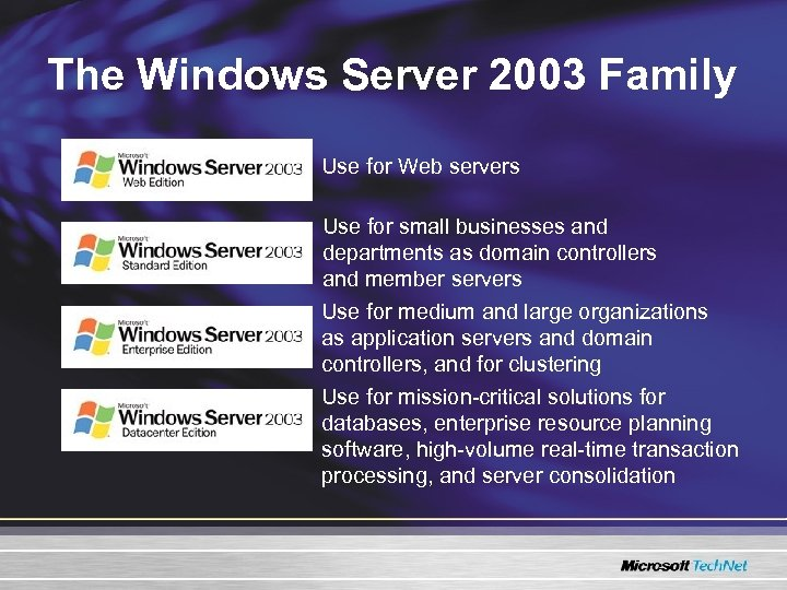 The Windows Server 2003 Family Use for Web servers Use for small businesses and