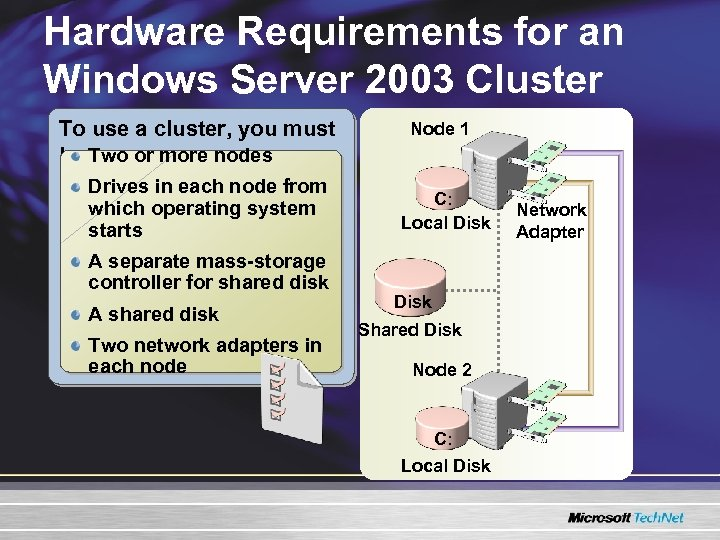 Hardware Requirements for an Windows Server 2003 Cluster To use a cluster, you must