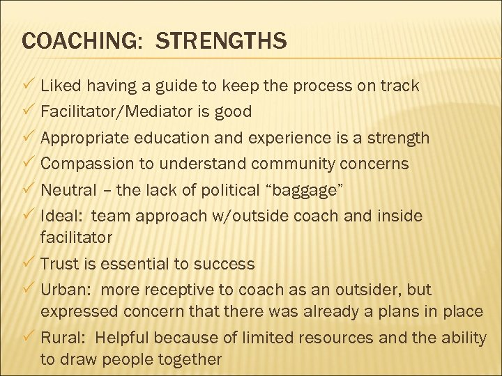 COACHING: STRENGTHS P Liked having a guide to keep the process on track P