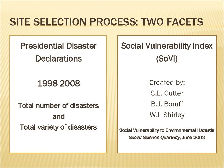SITE SELECTION PROCESS: TWO FACETS Presidential Disaster Declarations Social Vulnerability Index (So. VI) 1998