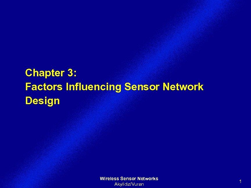 Chapter 3: Factors Influencing Sensor Network Design Wireless Sensor Networks Akyildiz/Vuran 1