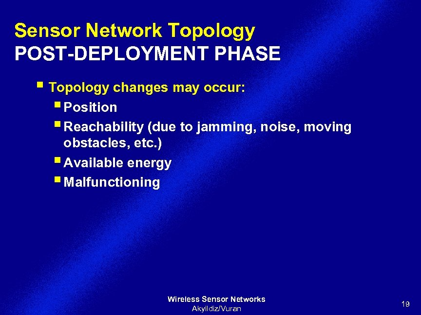 Sensor Network Topology POST-DEPLOYMENT PHASE § Topology changes may occur: § Position § Reachability