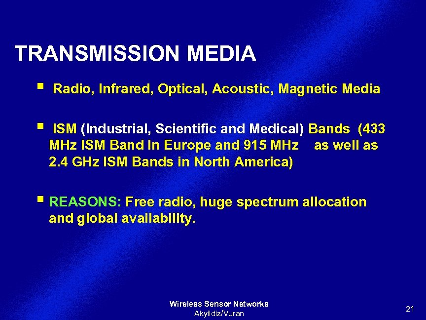 TRANSMISSION MEDIA § Radio, Infrared, Optical, Acoustic, Magnetic Media § ISM (Industrial, Scientific and