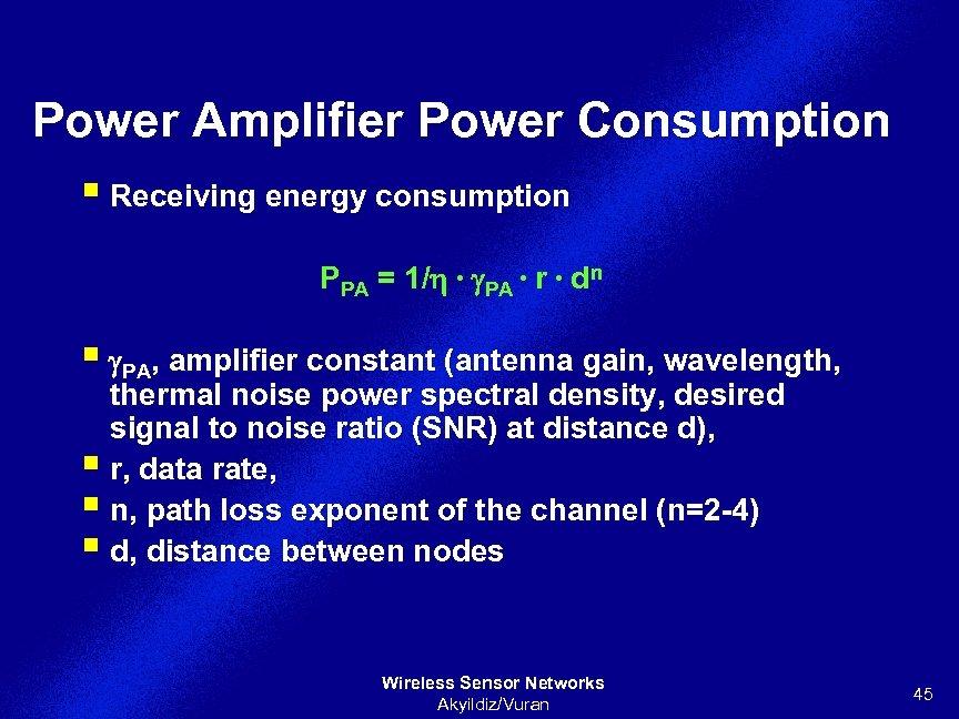 Power Amplifier Power Consumption § Receiving energy consumption PPA = 1/h ∙ g. PA