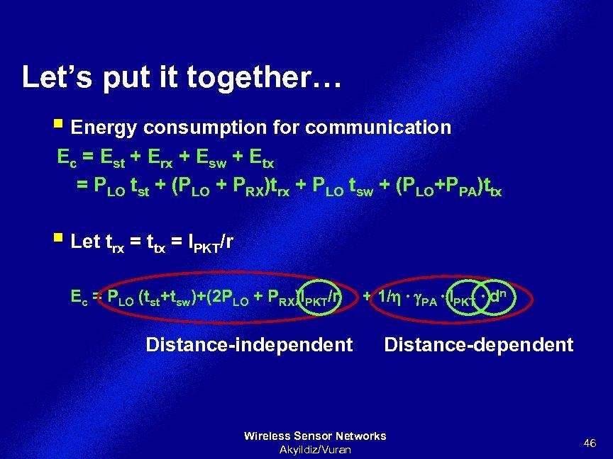 Let's put it together… § Energy consumption for communication Ec = Est + Erx