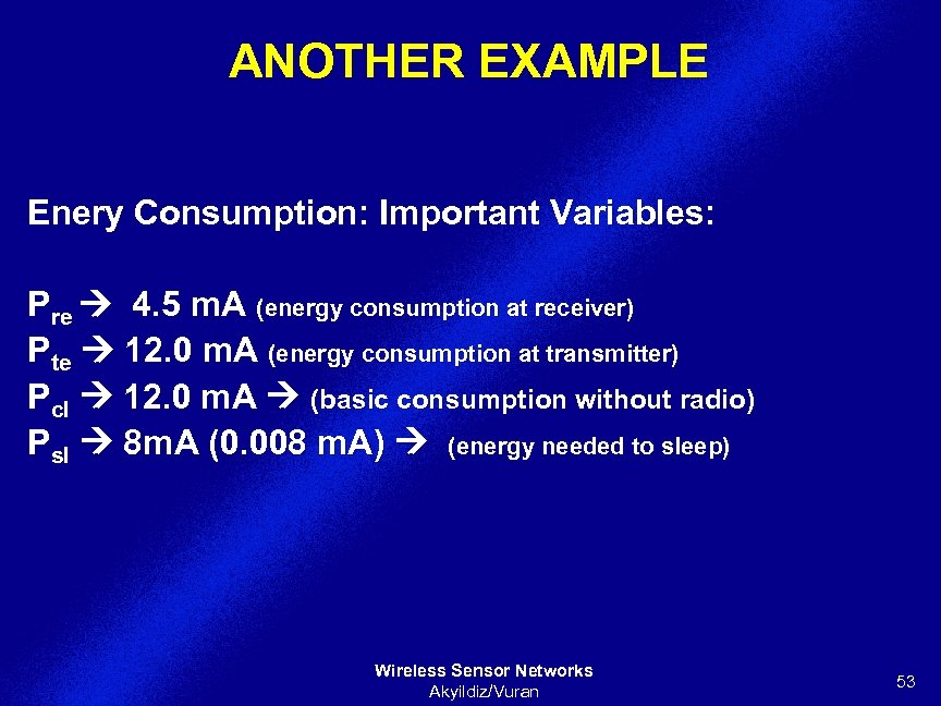 ANOTHER EXAMPLE Enery Consumption: Important Variables: Pre 4. 5 m. A (energy consumption at