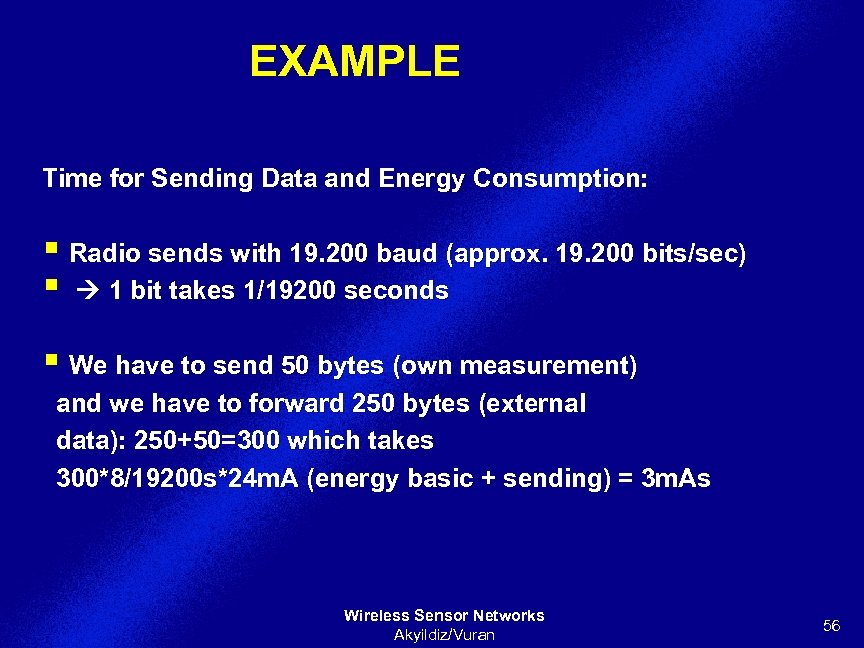 EXAMPLE Time for Sending Data and Energy Consumption: § Radio sends with 19. 200