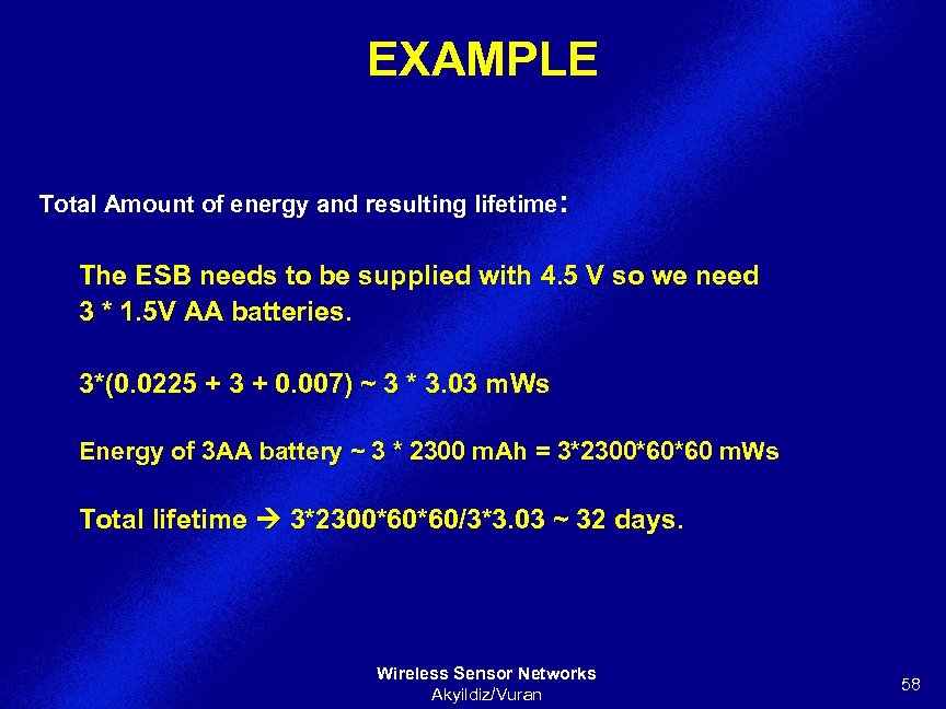 EXAMPLE Total Amount of energy and resulting lifetime: The ESB needs to be supplied