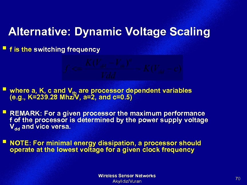 Alternative: Dynamic Voltage Scaling § f is the switching frequency § where a, K,