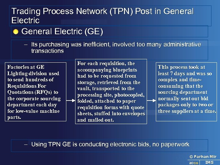 Trading Process Network (TPN) Post in General Electric (GE) – Its purchasing was inefficient,