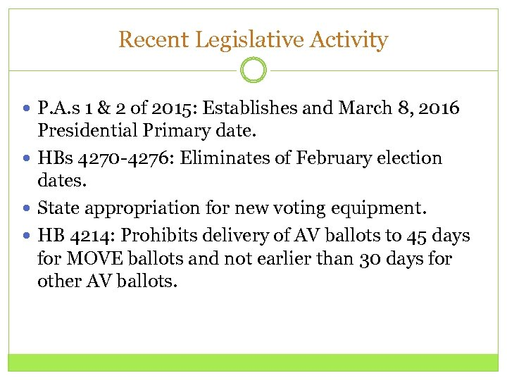 Recent Legislative Activity P. A. s 1 & 2 of 2015: Establishes and March
