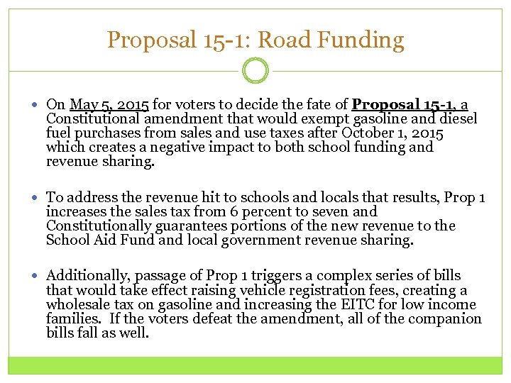 Proposal 15 -1: Road Funding On May 5, 2015 for voters to decide the