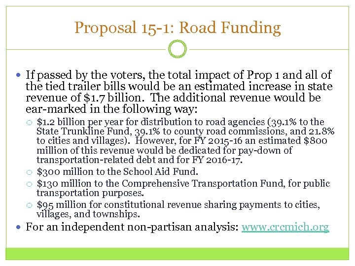 Proposal 15 -1: Road Funding If passed by the voters, the total impact of