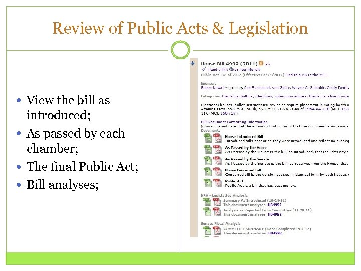 Review of Public Acts & Legislation View the bill as introduced; As passed by