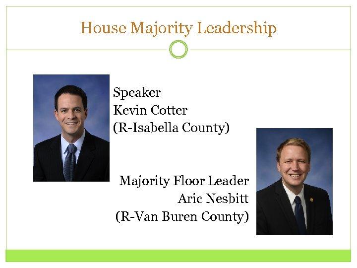 House Majority Leadership Speaker Kevin Cotter (R-Isabella County) Majority Floor Leader Aric Nesbitt (R-Van