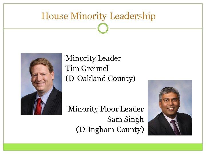 House Minority Leadership Minority Leader Tim Greimel (D-Oakland County) Minority Floor Leader Sam Singh