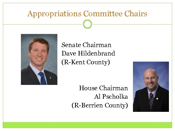 Appropriations Committee Chairs Senate Chairman Dave Hildenbrand (R-Kent County) House Chairman Al Pscholka (R-Berrien