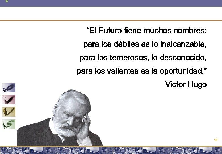 """""""El Futuro tiene muchos nombres: para los débiles es lo inalcanzable, para los temerosos,"""