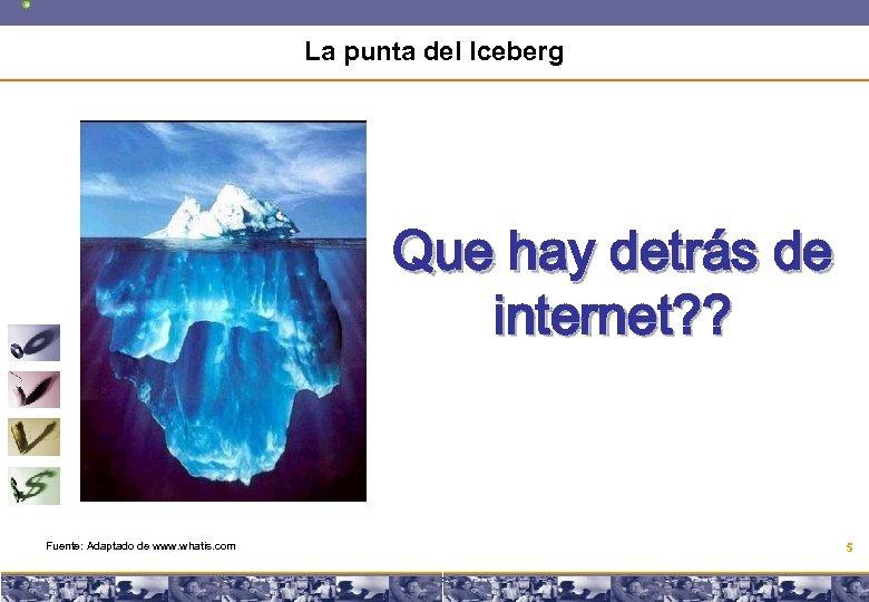 La punta del Iceberg Que hay detrás de internet? ? Fuente: Adaptado de www.