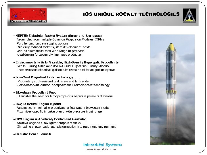 IOS UNIQUE ROCKET TECHNOLOGIES -- NEPTUNE Modular Rocket System (three- and four-stage) Assembled from