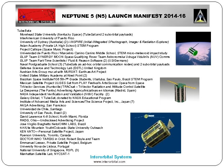 NEPTUNE 5 (N 5) LAUNCH MANIFEST 2014 -16 Tube. Sats Morehead State University (Kentucky