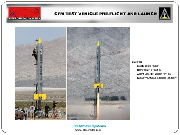 CPM TEST VEHICLE PRE-FLIGHT AND LAUNCH Statistics -- Length: 29. 5 ft (9. 0