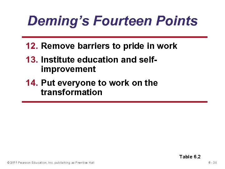 Deming's Fourteen Points 12. Remove barriers to pride in work 13. Institute education and