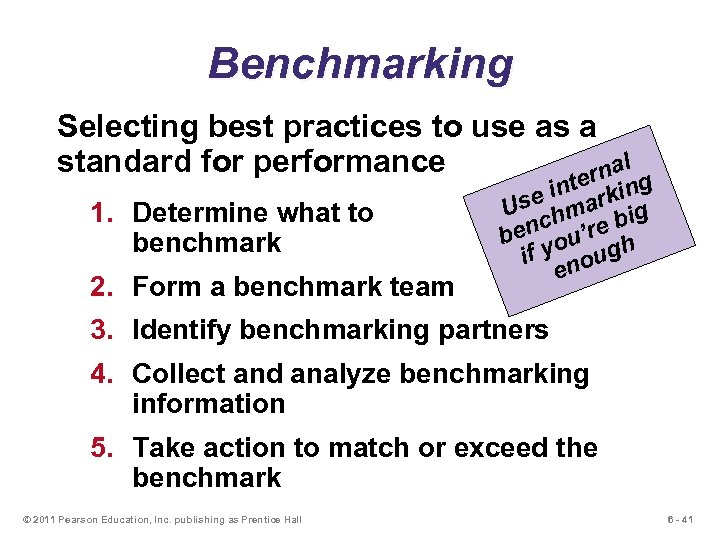 Benchmarking Selecting best practices to use as a l standard for performance rna 1.