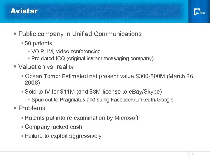 Avistar § Public company in Unified Communications § 50 patents § VOIP, IM, Video