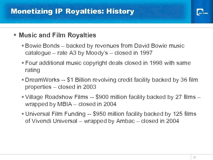 Monetizing IP Royalties: History § Music and Film Royalties § Bowie Bonds – backed