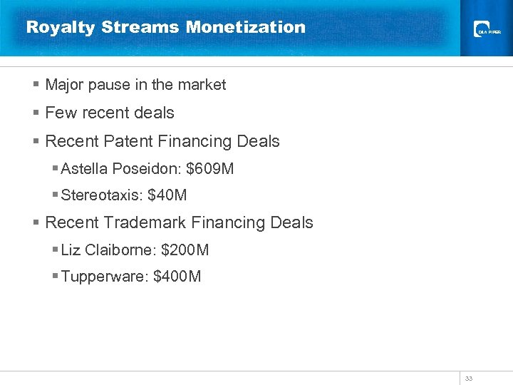 Royalty Streams Monetization § Major pause in the market § Few recent deals §