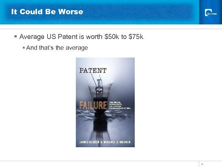 It Could Be Worse § Average US Patent is worth $50 k to $75