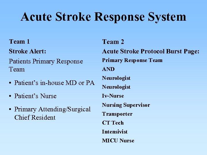 Acute Stroke Response System Team 1 Stroke Alert: Team 2 Acute Stroke Protocol Burst