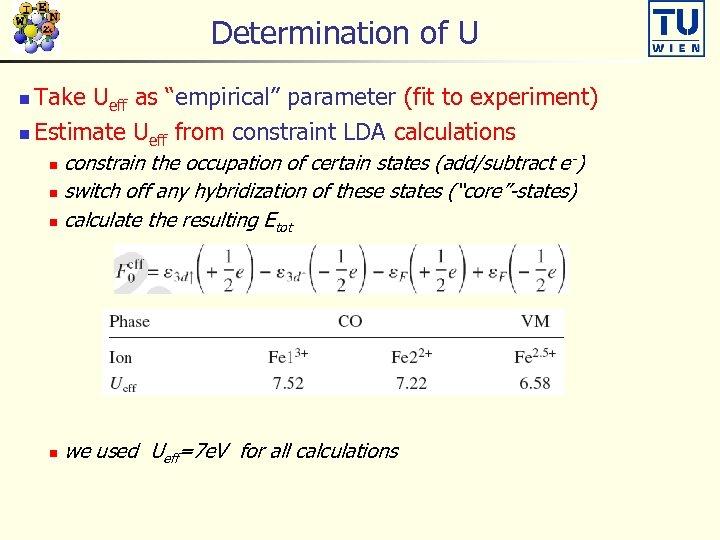 "Determination of U Take Ueff as ""empirical"" parameter (fit to experiment) n Estimate Ueff"