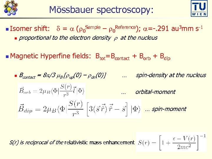 Mössbauer spectroscopy: n Isomer shift: d = a (r 0 Sample – r 0