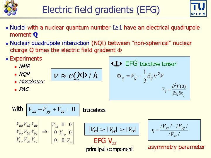 Electric field gradients (EFG) Nuclei with a nuclear quantum number I≥ 1 have an