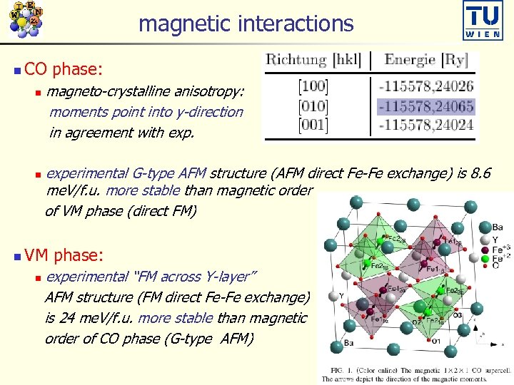 magnetic interactions n CO phase: n n n magneto-crystalline anisotropy: moments point into y-direction