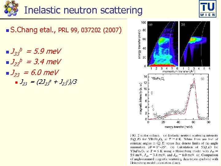 Inelastic neutron scattering n S. Chang etal. , PRL 99, 037202 (2007) J =
