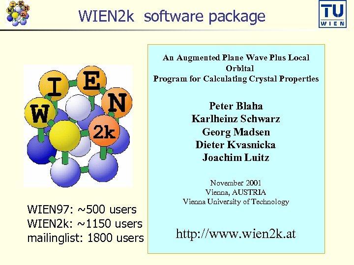 WIEN 2 k software package An Augmented Plane Wave Plus Local Orbital Program for
