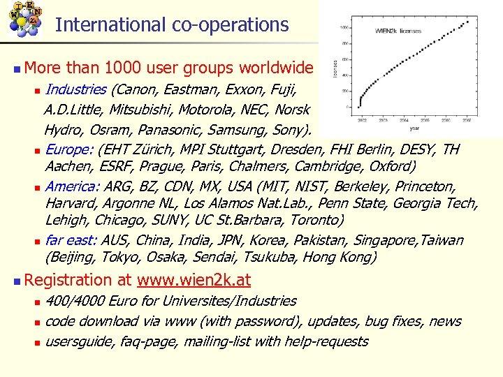 International co-operations n More than 1000 user groups worldwide Industries (Canon, Eastman, Exxon, Fuji,