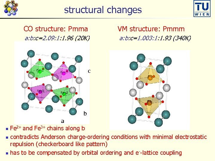 structural changes CO structure: Pmma VM structure: Pmmm a: b: c=2. 09: 1: 1.