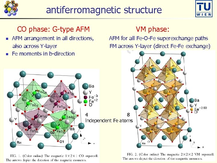 antiferromagnetic structure CO phase: G-type AFM n n AFM arrangement in all directions, also
