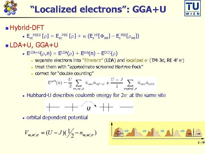 """""""Localized electrons"""": GGA+U n Hybrid-DFT n n Exc. PBE 0 [r] = Exc. PBE"""