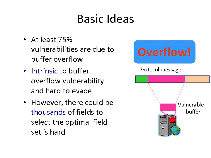 Basic Ideas • At least 75% vulnerabilities are due to buffer overflow • Intrinsic