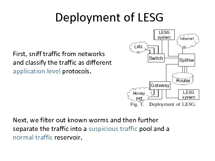 Deployment of LESG First, sniff traffic from networks and classify the traffic as different